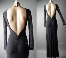 Black Mermaid Column Gown Open Back Evening Formal Event Ball Long 97 df Dress M