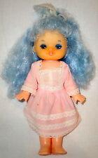 Vintage Soviet Ussr Russian Hard Plastic Rubber Doll Malvina Tale Blue Hair Eyes