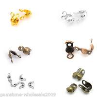 """500 PCs Calottes End Crimps Beads Tips 8mmx4mm(3/8""""x1/8"""") M1453"""