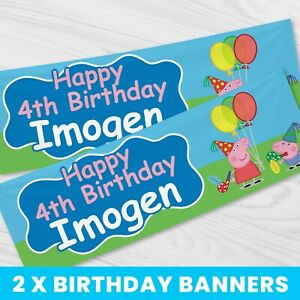 Personalised Peppa Pig Party Banner - Children Party Banner x 2 - BB079