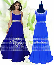 Long Chiffon Bridesmaid Formal Gown Ball Evening Prom Party Dress Size 8 -24 Royal Blue 14