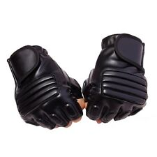 Mens Black Half Finger Leather Gloves Driving Fitness Tactical Fingerless Gloves