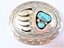 Gürtelschnalle Silber 925 mit Türkisen, 55 g