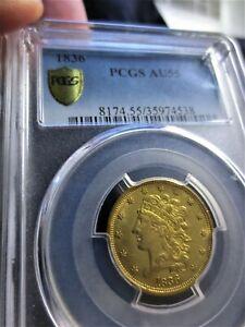 1836 $5 gold Classic Head PCGS AU55
