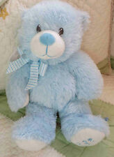 """Ty Classic Fluffy Stuffed Blue My First Teddy Bear Baby Boy Toy 13"""" 2012 EUC"""
