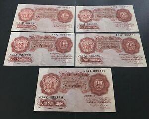 1950's BANK OF ENGLAND TEN SHILLING NOTE CRISP 100%GENUINE CASHIER P S BEALE