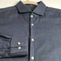 Boss Hugo Boss Men Long Sleeve Button Up Dress Shirt 16 ½ 32 33 Blue White Sharp