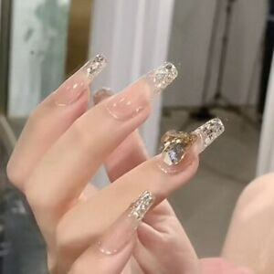 Nude Glitter Gradient Fake Nails with Rhinestones Ballerina Artificial Nail Tips