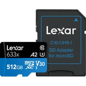 Genuine Lexar 633x 512GB MicroSDXC Micro SDXC SD XC 4K U3 A2 V30 UHS-I Brand New