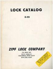 Rare Vintage 1974 Zipf Lock Company Locksmith Supply Catalog