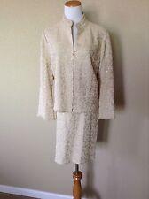 Pre-Owned St. John Evening Gold Shimmer 2-Piece Skirt Suit Set, Size 14