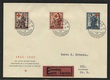 LIECHTENSTEIN, RED CROSS SEMIPOSTALS 1945 FDC!