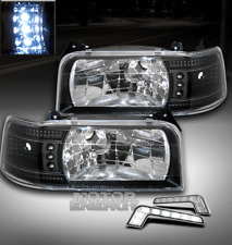 92-96 FORD BRONCO F150 F250 F350 LED BLACK CRYSTAL HEAD LIGHTS+DRL CORNER SIGNAL
