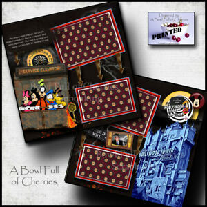 Disney HOLLYWOOD TOWER OF TERROR ~ 2 premade scrapbook pages Printed Cherry 0172