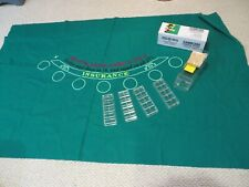 "Blackjack Green Casino Table Felt Layout, 78"" x 50"" Card Shoe Chip Holders"