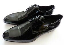 $850 PAL ZILERI Black Patent Leather Tuxedo Smoking Shoes 10 US 43 Euro 9 UK