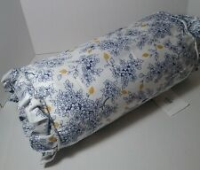 LENOX Garden Grove Neckroll Toss Pillow Blue Gold White Floral Feather Fill
