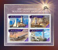 Maldives 2016 MNH Boston Light 300th Anniv 4v M/S Boats Lighthouses Stamps
