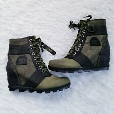 Sorel Lexie Wedge Booties Camo Black Green Size 9.5