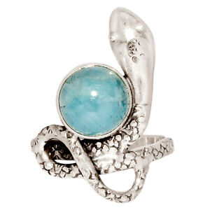 Snake - Aquamarine - Brazil 925 Sterling Silver Ring Jewelry s.8 BR57030
