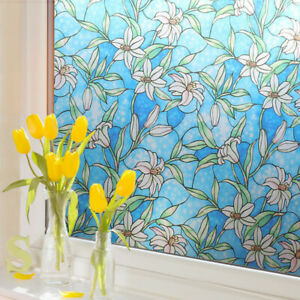 3D Static Cling Frosted Window Films Floral Stained Glass Stickers Modern Decor