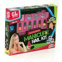 Glitz & Neon Manicure Nail Varnish Kit Girls Beauty Make-Up Set Kids Gift 30071