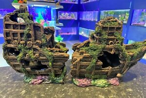 Large 2 Piece 45 cm Shipwreck Aquarium Fish Tank Ship Ruin Ornament SH1