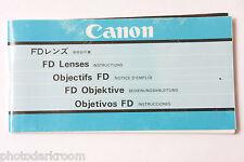 Canon FD Prime Lens Instruction Manual Book English Ja De Fr Esp - USED B66