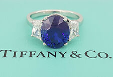 Vintage Tiffany & Co 6.55 ct Platinum Oval Royal Blue Sapphire & Diamond Ring