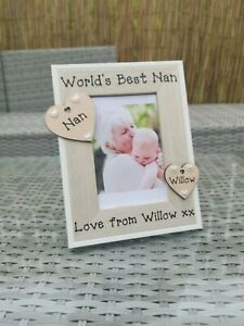 Personalised Photo Picture Frame The Worlds Best Nan Grandad Mum Dad Gran Gift..