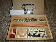 6 In 1 Nostalgia Games - Marbles, Cards, Dominoes, Jacks, Yo-Yo - Vintage -Retro