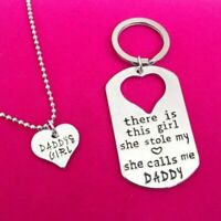 Letter Heart Keychain Key Ring Necklace Daddy Daughter Dad Father Girls Jewelry