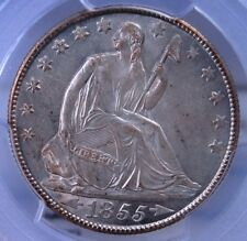 1855 O W/ARROWS SEATED HALF DOLLAR PCGS MS 61 CREAMY ORIGINAL AND LOOKS BETTER
