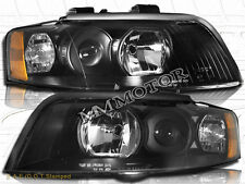 02-05 Audi A4 Sedan Wagon Quattro Halogen Headlights Black Housing Clear Lens