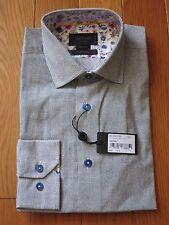 DUCHAMP Mens Luxury Dress Shirt - 15.5 39 Mini Squares Print / Dot Black & Grey