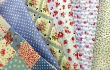 Blue Fabric 100% cotton Vintage Patchwork 6 Fat Quarters Shabby Chic 50cm x 52cm