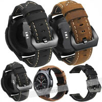 22mm Men Thick Genuine Leather Watch Strap Band Replacement Wristwatch Belt USA
