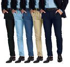 Alamo Mens Slim Fit Chino Trouser Flat Front Stretch Stylish Designer Full Pants