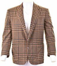 TRUSSARDI Mens 2 Button Blazer Jacket IT 52 XL Brown Check Wool  JJ17