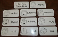 10 Picture Word Flash Cards.  Black and White Emotions Cards.  Laminated flash c