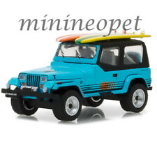 GREENLIGHT 97020 C 1987 JEEP WRANGLER YJ with SURF BOARD 1/64 DIECAST BLUE