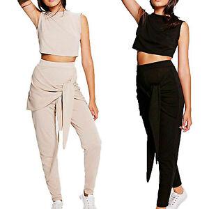 Ladies Crop Tie Waist Sweatshirt Top Bottom Loungewear Tracksuit Set Sleeveless