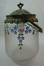 Antique VICTORIAN Satin Glass Silverplate Handpainted BISCUIT BARREL Cookie Jar