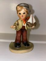 Vintage Napcoware Import Japan Little BoyWith Sailboat Figurine #C7199