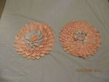 Vtg Set of 2 Satin Peach Lily Pad Lotus Shaped Pillow Covers Shams New Other/Tag