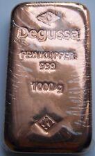 1 KILO / KG - DEGUSSA - 999 KUPFER BARREN - ANLAGE WIE SILBER / GOLD / PALLADIUM