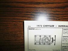 1973 Dodge, Plymouth & Chrysler 220 HP 440 CI V8 SUN Tune Up Chart Great Shape!