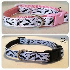 "Mustache Ribbon Dog Collar, 3/8"" Adjustable Ribbon Dog Or Cat Collar"