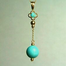 14k solid yellow gold 8mm round ball natural Arizona turquoise pendant