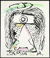 """DDR-Kunst """"Samia Hussein"""" 1990. Mischtechnik Gerd SONNTAG (*1954 D) handsigniert"""